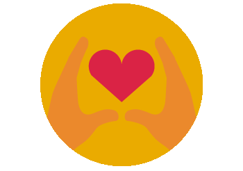 Graphic of a heart in hands realting to income protection with vocational and clinical support